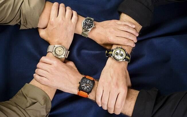 Relógios (em sentido horário) da Tudor, Chopard, Bell & Ross e Hamilton