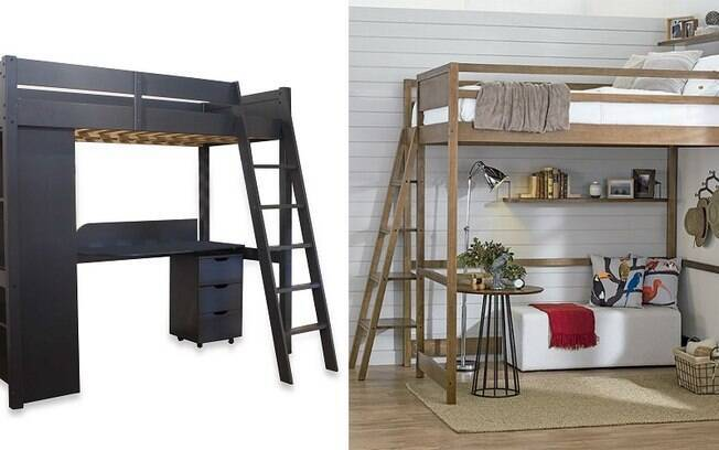 Ter uma cama suspensa deixa um cantinho livre para outros móveis e até um mini escritório embaixo dela
