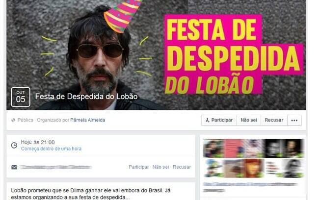 Lobão disse que iria embora do Brasil caso a petista se reelegesse. Já existe até evento no Facebook para ajudar o músico nessa empreitada. Foto: Reprodução