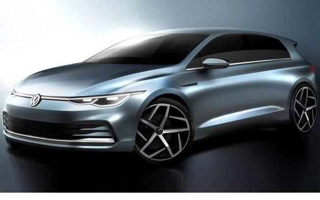 O sketch do VW Golf revela novos faróis, grade e silhueta da área envidraçada. A coluna