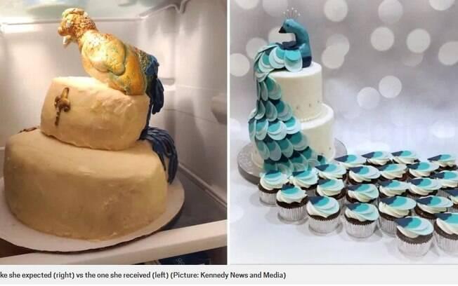 Expectativa de bolo com pavão x realidade
