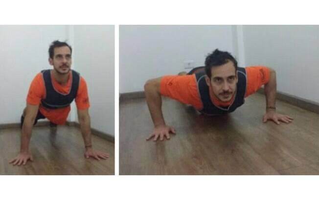 Mantenha a postura durante a flexão de braço, sem empinar o bumbum