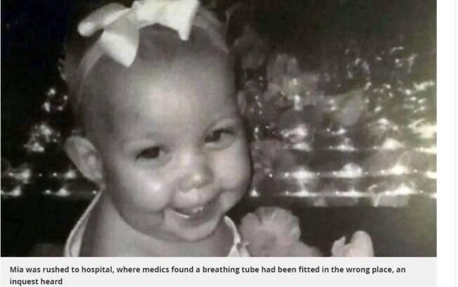 Mia Atkins morreu aos dois anos de idade após engasgar com um pedaço de mini salsicha