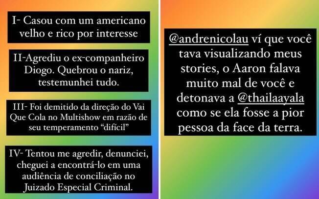 Prints dos stories de Fêh Oliveira