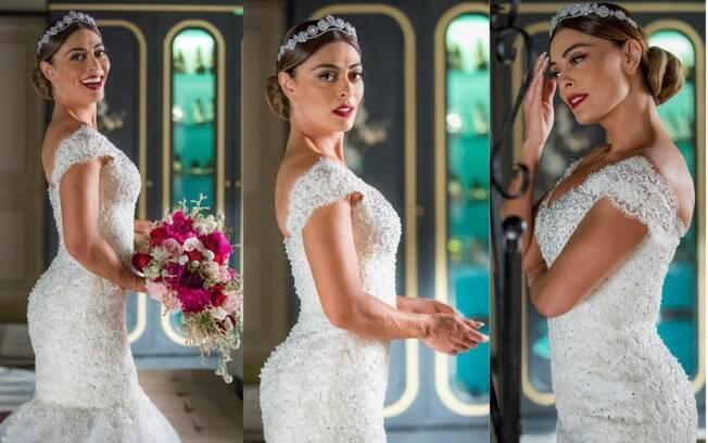 O vestido de noiva que será usado por Maria da Paz, em