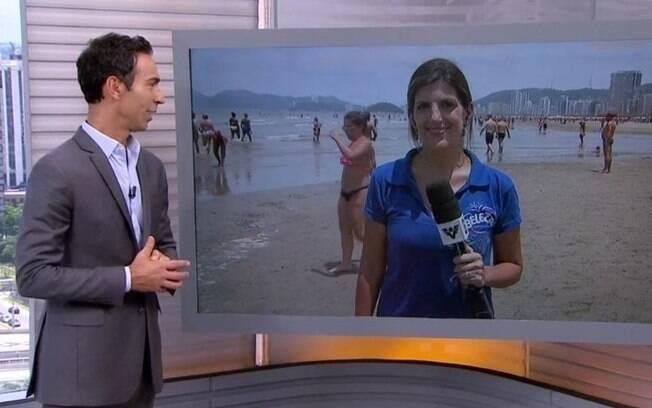 A repórter Marcela Pierotti fala com César Tralli durante o SP1