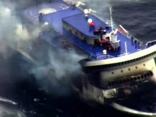 A photo grab taken from a video made available by the Guardia costiera , Italy 's coast guard organization on December 28, 2014, shows the burning ferry