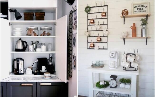 Na hora de criar um cantinho do café, é possível aproveitar vários espaços e deixar a criatividade fluir