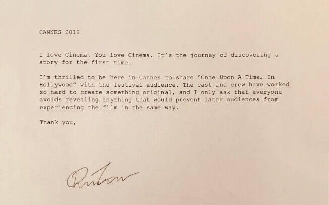 Comunicado de Quentin Tarantino