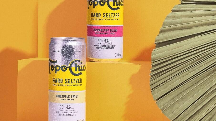 A Topo Chico tem três sabores: abacaxi, lima-limão e morango com goiaba