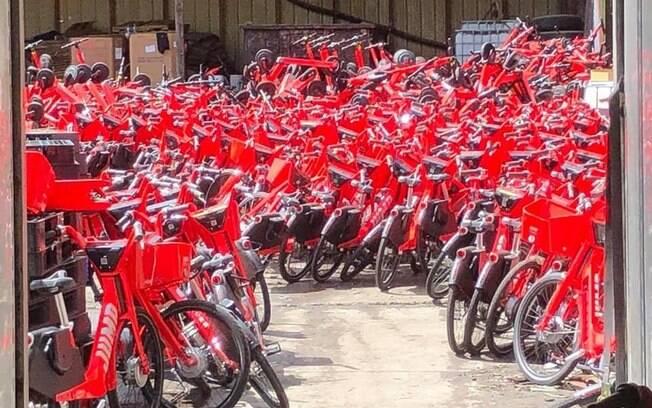 As bicicletas foram destinadas para reciclagem