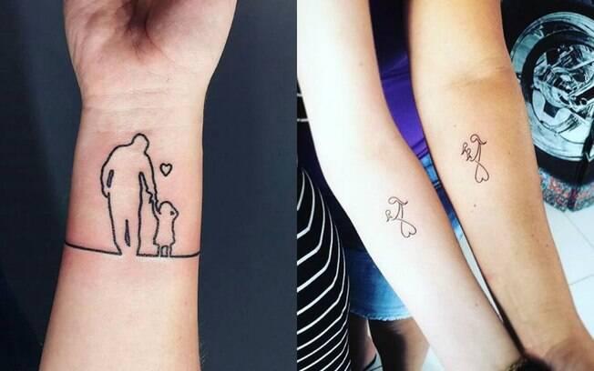 Se você busca por tatuagens em homenagem aos filhos mais delicadas, pode optar por contornos ou símbolos