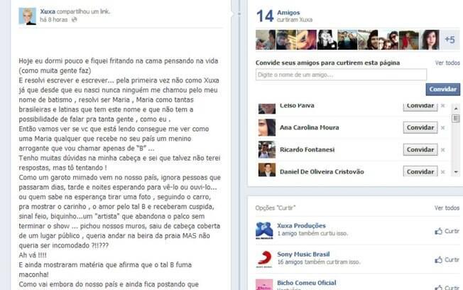 Xuxa desabafa contra Justin Bieber no Facebook