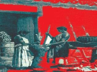 No grande pilão escavado num tronco, duas escravas socam o que pode ser nossa magra esperança de um futuro melhor