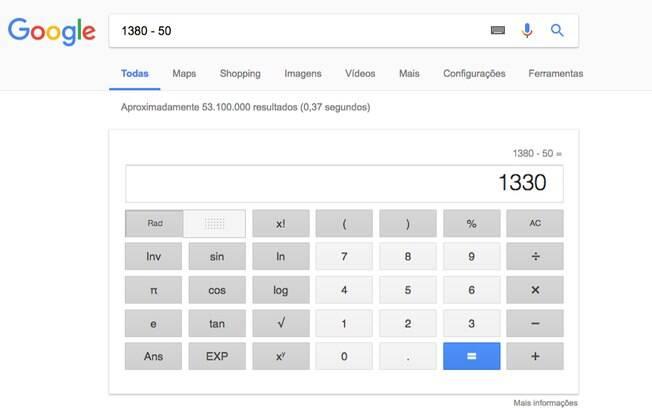 O Google realiza contas simples instantaneamente.