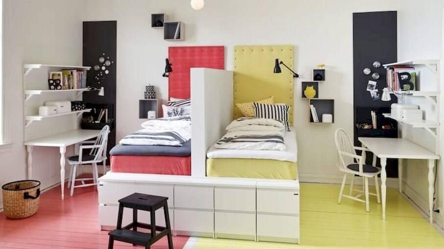 Objetos também podem ser usados como divisória no quarto