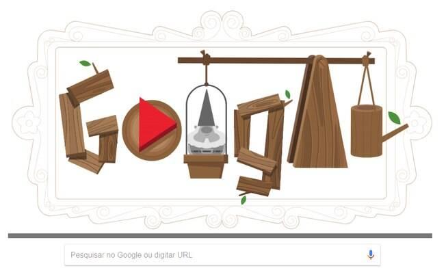 Após a breve narrativa do Doodle, o internauta pode se divertir decorando um jardim com a ajuda do simpático anão