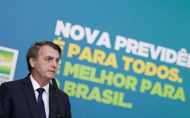O presidente Jair Bolsonaro (PSL) participou do lançamento da campanha oficial da nova Previdência