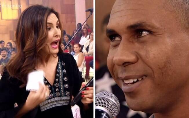 Fátima Bernardes recebe um 'eu também te amo' de rapaz da plateia durante o seu programa