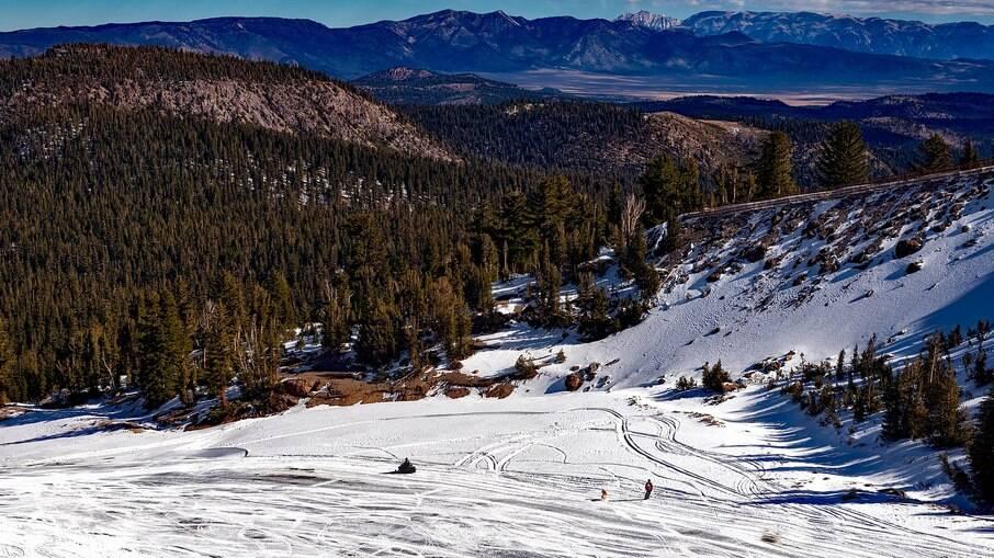 Uma das coisas para fazer na Califórnia durante o inverno americano é aproveitar a neve e esquiar na Mammoth Mountain