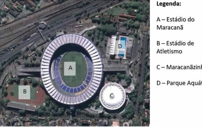 Legenda da atual área do Complexo do  Maracanã: Célio de Barros (atletismo) e Júlio  Delamare (natação) serão demolidos