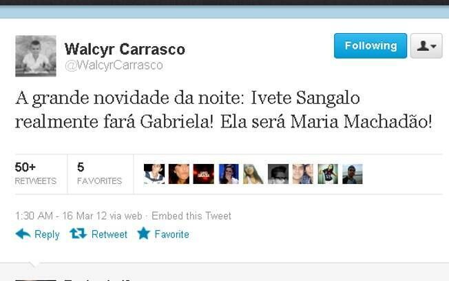 Walcyr Carrasco confirmou Ivete Sangalo no elenco do remake de