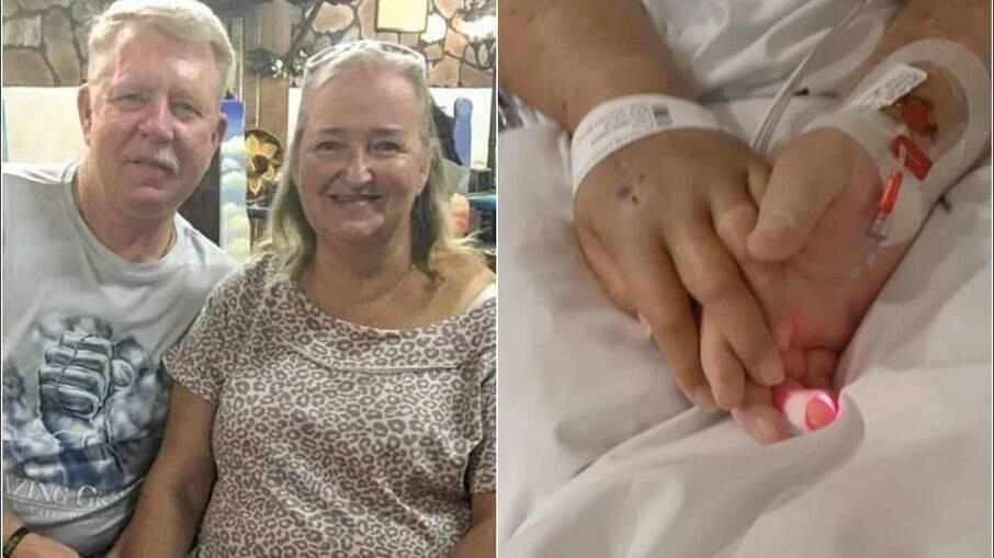 Cal Dunham e a mulher, Linda, e a foto dos dois de mãos dadas