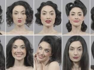 A beleza das mulheres em diferentes décadas