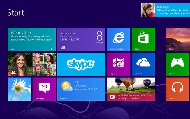 Aplicativo do Skype para Windows 8 mostrará notificações no topo da página e também no bloco fixado na tela de início