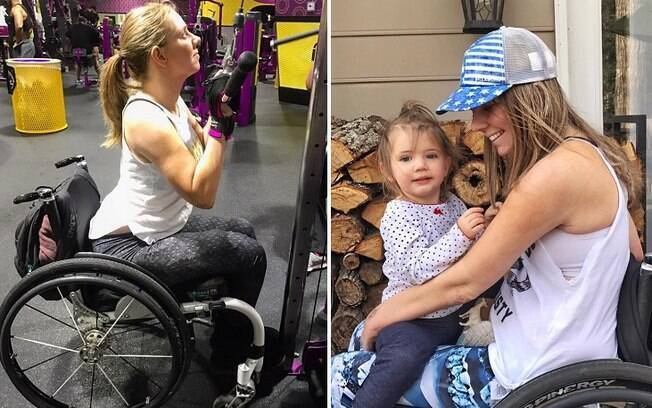 Mesmo na cadeira de rodas, a americana pratica esportes e cuida da filha