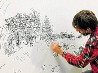 Márcio Diegues apresenta painel de desenho inspirado em paisagem local