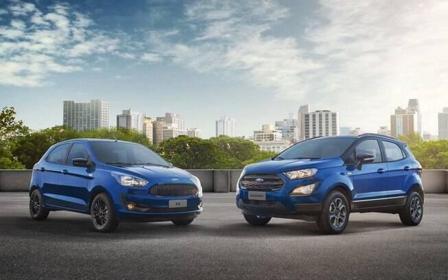Ford Ka (hatch e sedã)  e EcoSport são os principais produtos da marca no Brasil, ambos feitos em Camaçari (BA)