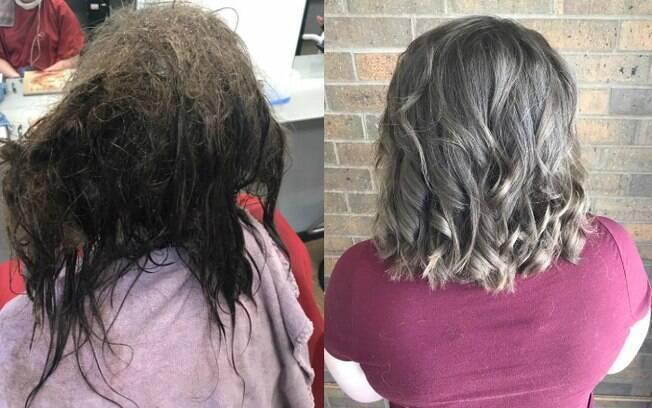 Americana Kayley Olsson atendeu a jovem com depressão e não apenas a devolveu seu cabelo, mas a autoestima também