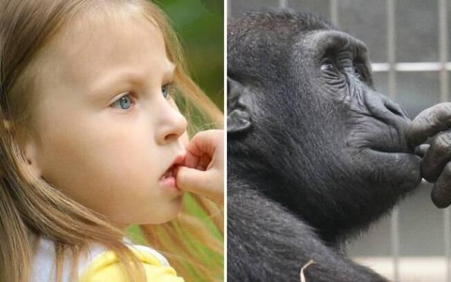 Uma menina e um macaco pensando na vida.
