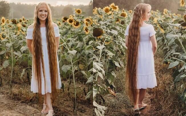 Andrea Stano afirma comer manteiga de amendoim todos os dias para fazer o cabelão digno de Rapunzel crescer saudável