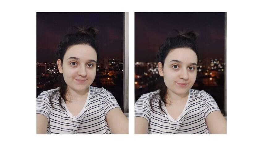 Fotos sem e com o modo retrato