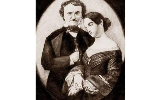 O escritor Edgar Allan Poe casou-se com a prima Virginia Eliza Clemm quando tinha 17 e ela, 13. . Foto: Reprodução/ Twitter