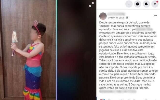 Publicação feita pela mãe mostra filho vestido com a fantasia de sereia