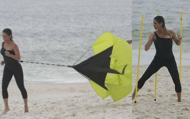 Danielle Winits também treina nas praias cariocas
