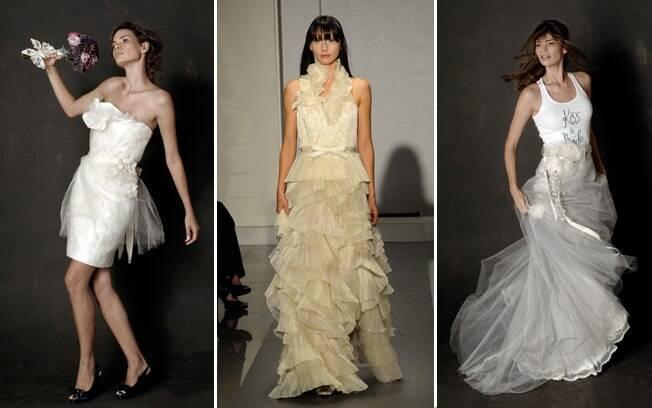 Curto, colorido, moderno: não há mais regras para o vestido da noiva