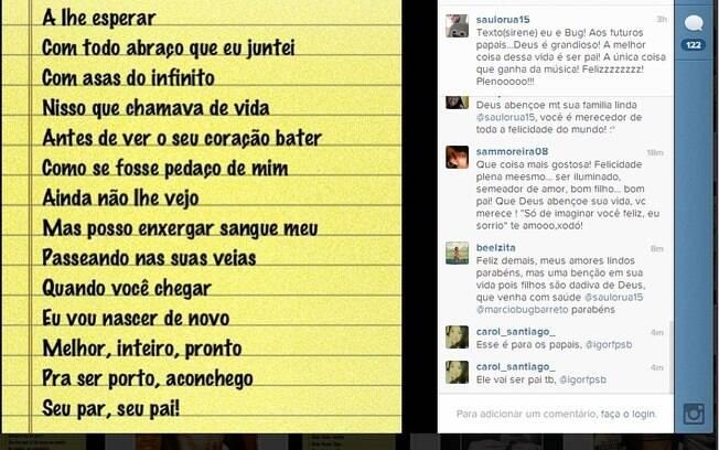 Saulo dividiu a boa notícia com os fãs pelo Instagram