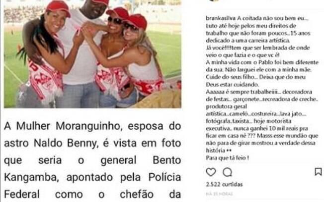 Post de Branka (ex-mulher de Naldo) sobre mulher Moranguinho