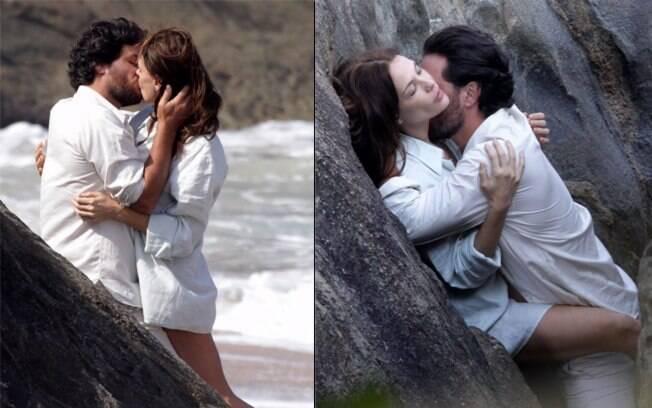 Rodrigo Lombardi e Carolina Ferraz em cenas sensuais de