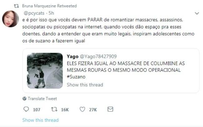 Bruna Marquezine se expressa sobre tragédia em Suzano