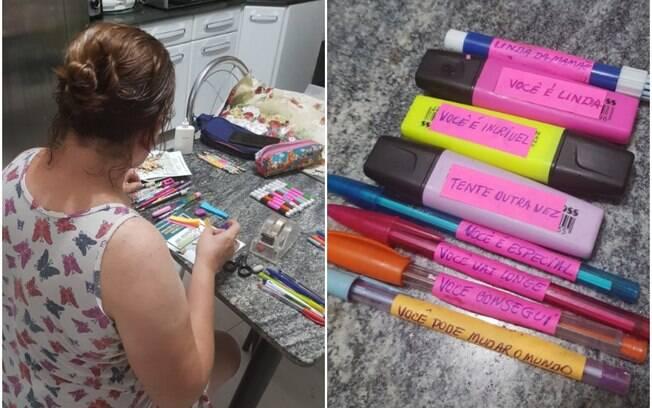 Mãe escreve mensagens de incentivo no material escolar de filha e fotos viralizam no Twitter