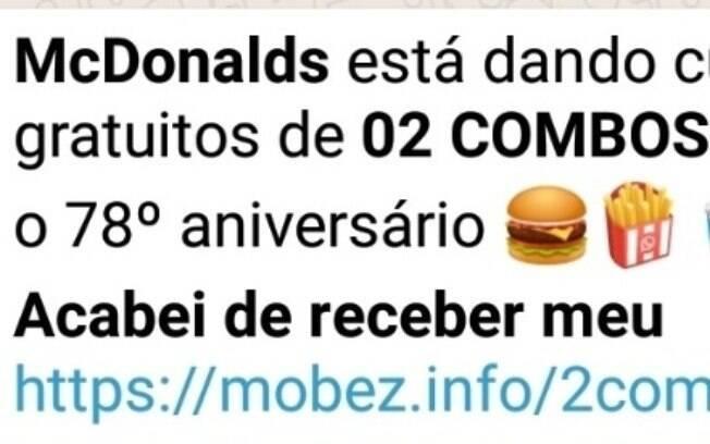 Golpe no WhatsApp promete 2 combos de graça no McDonald's se usuários participar de falsa pesquisa e compartilhar a mensagem com seus amigos