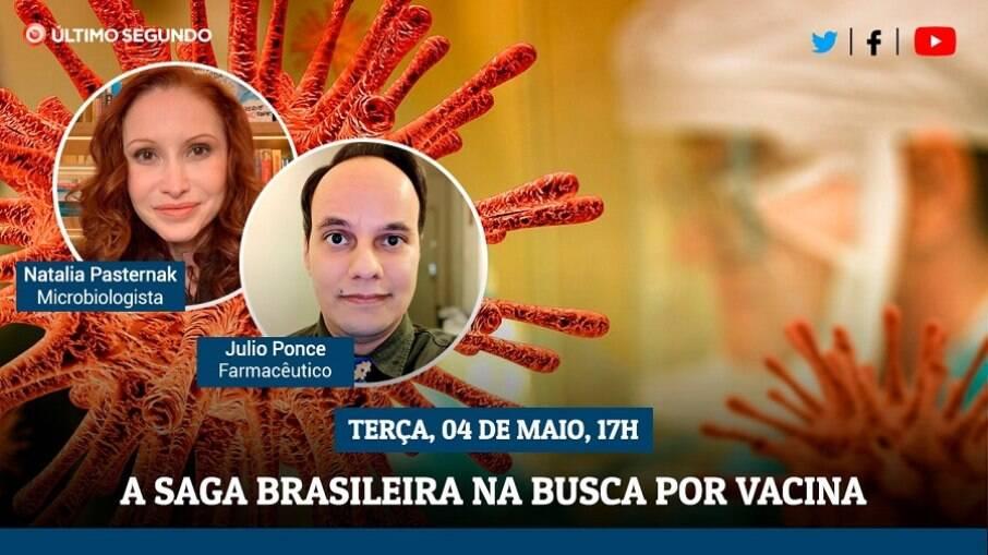Transmissão ao vivo terá como convidados a microbiologista Natalia Pasternak e o farmacêutico Julio Ponce