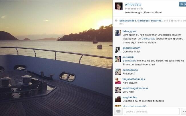 Iate da família Batista no Instagram de Olin, filho de Eike. Foto: Reprodução