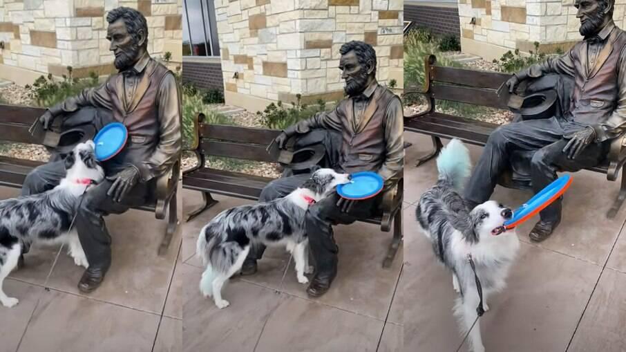 Cachorra tenta brincar com estátua de ex-presidente dos Estados Unidos