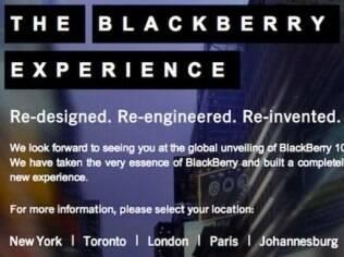 Convite da RIM chama jornalistas para anúncio oficial do BlackBerry 10